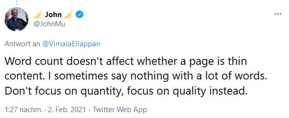Tweet John Mueller zu Thin Content